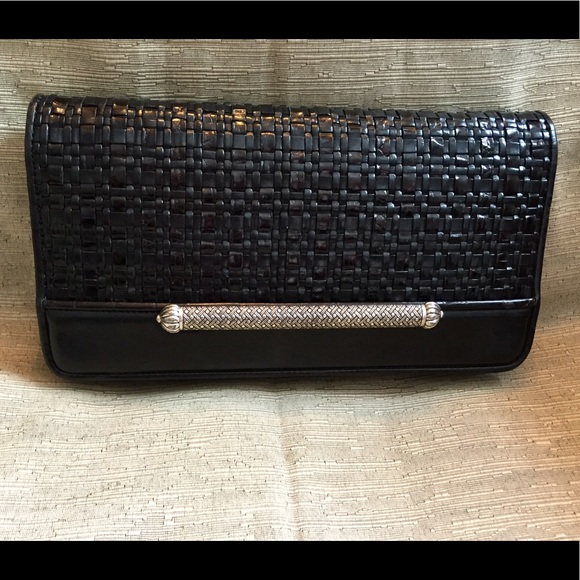 Brighton Handbags - BRIGHTON Black Woven Clutch w/ 11 C/C slots